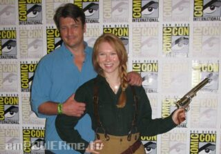 Molly Quinn and Nathan Fillion at Comic-Con