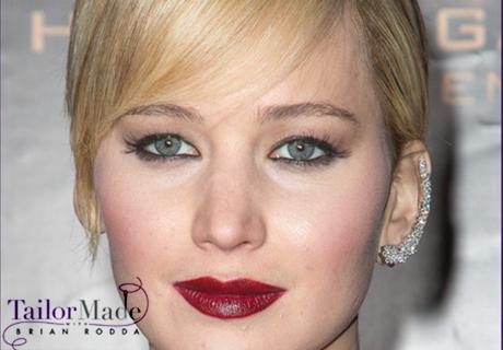 Jennifer Lawrence Pixie Cut and Earcuffs